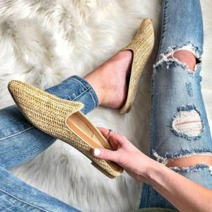 POINTED TOE WOVEN NUDE BACKLESS SLIP ON MU…